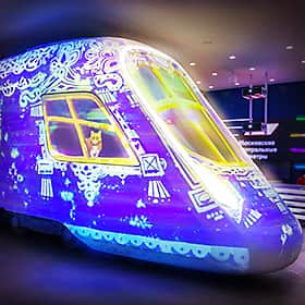 Interactive projection mapping on a train model